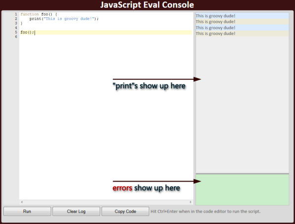 JavaScript eval console