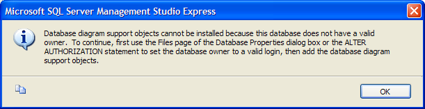 SQL Server Management Studio Express Edition - Error message. Database diagram support objects cannot be installed because this database does not have a valid owner. To continue, first use the Files page of the Database Properties dialog box or the ALTER AUTHORIZATION statement to set the database owner to a valid login, then add the database diagram support objects.